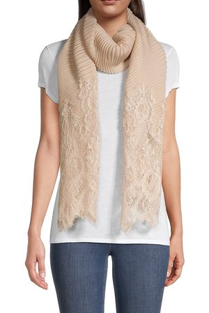 VALENTINO Women's Plisse Pleated Lace-Panelled Scarf