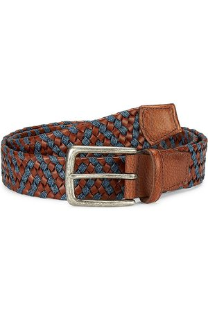 Saks Fifth Avenue Men's COLLECTION Woven Leather & Cotton Belt - - Size 44