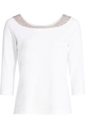 Joan Vass Women's Petite Sequin-Embellished Cotton Top - - Size Petite Medium