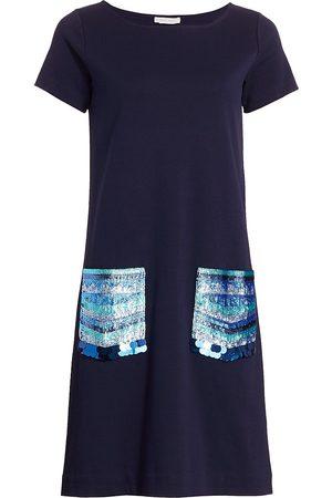 Joan Vass Women Dresses - Women's Petite Sequin-Pocket Cotton Shift Dress - - Size Petite Medium