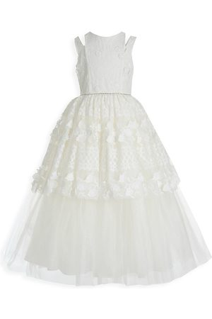 Badgley Mischka Girl's Lace Split Evening Gown - - Size 12