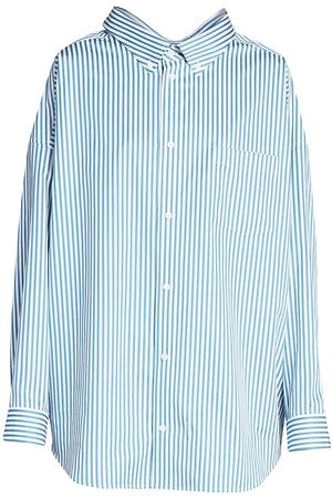 Balenciaga Women's Pinstripe Swing Shirt - - Size 32 (0)