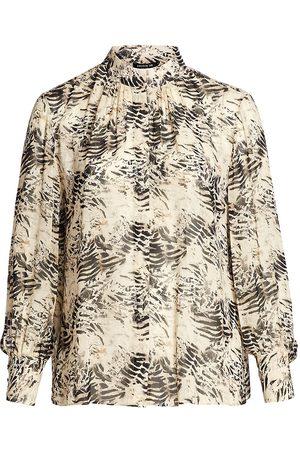Lafayette 148 New York Women's Mattea Printed Stand Collar Blouse - - Size 2X (18-20)