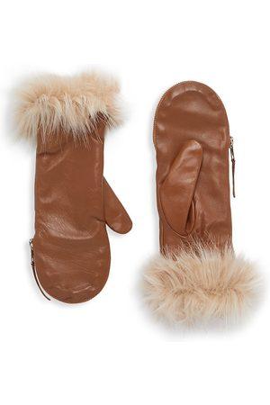 Carolina Amato Women's Faux Fur-Trim Leather Mittens - Tan - Size Medium