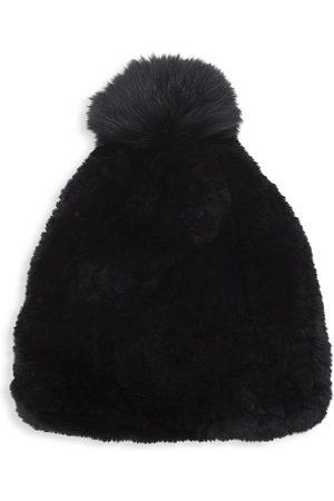 Surell Rex Rabbit Fur & Fox Fur Pom Pom Beanie