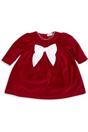 Kissy Kissy Girls Dresses - Baby Girl's Here Comes Santa Claus Velour Dress
