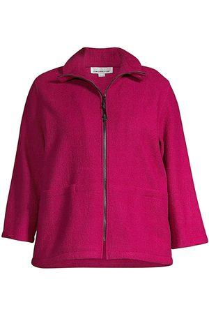 Caroline Rose Women's Paris Plush Pocket Zip Jacket - - Size 2X (18-20)