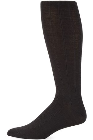 Saks Fifth Avenue Men's COLLECTION Wide Rib-Knit Crew Socks
