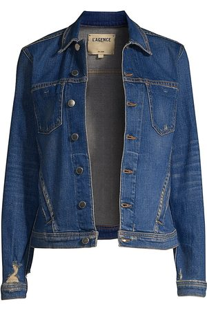 L'Agence Women's Celine Distressed Denim Jacket - - Size Large