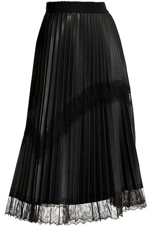 Persona by Marina Rinaldi Women's Lace Trim Faux-Leather Pleated Midi Skirt - - Size 20 W