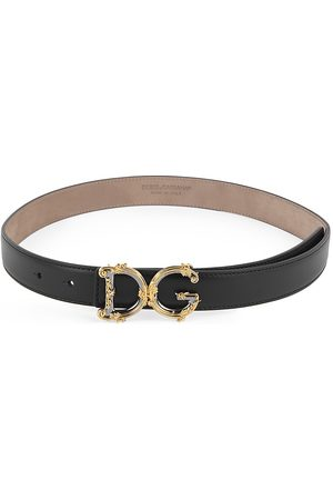 Dolce & Gabbana Women's Baroque Logo Leather Belt - - Size 80 (Small)