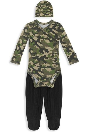 Posh Peanut Baby Boy's 3-Piece Cadet Kimono, Footie Pants & Beanie Set - - Size 0-3 Months