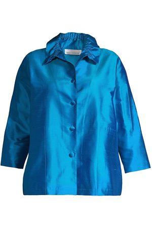 Caroline Rose Women's Silk Button-Front Shirt - - Size 1X (14-16)