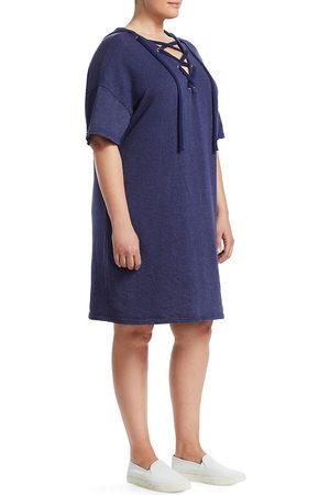 Slink Jeans Plus Women Casual Dresses - Women's Lace-Up Cotton Hooded Dress - Navy - Size XXXL