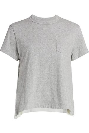 SACAI Women's Pleated Cotton T-Shirt - - Size 4 (Large)