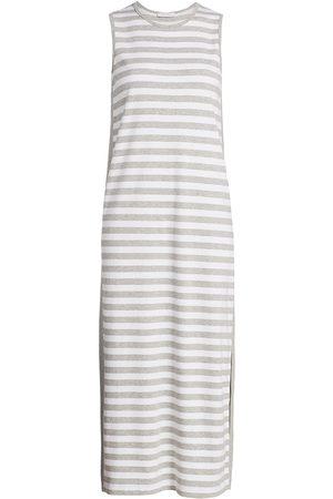 Joan Vass Women's Petite Stripe Cotton Midi Dress - - Size Petite Small