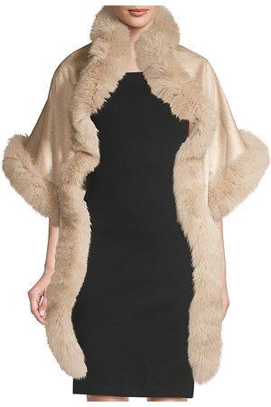 Sofia Cashmere Women's Asymmetric Cashmere & Fox Fur-Trim Wrap