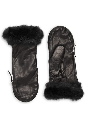 Carolina Amato Women Gloves - Women's Faux Fur-Trim Leather Mittens - - Size Small