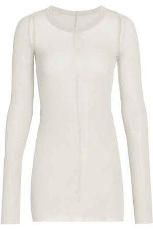 Rick Owens Women's Long-Sleeve Ribbed Stretch Silk T-Shirt - - Size 40 (4)