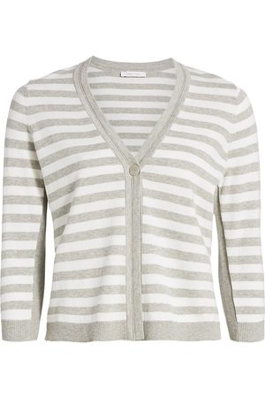 Joan Vass Women's Petite Stripe Cotton Cardigan - - Size Petite XS