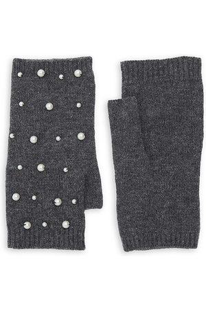 Carolina Amato Women's Mini Faux Pearl Scatter Fingerless Gloves