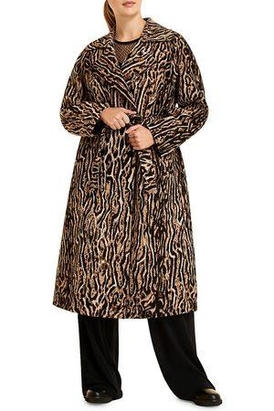 Persona by Marina Rinaldi Women's Leopard Jacquard Trench Coat - - Size 18 W