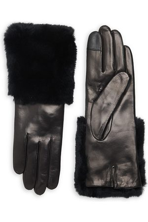 Carolina Amato Women's Rabbit Fur-Trim Leather Gloves - - Size Medium