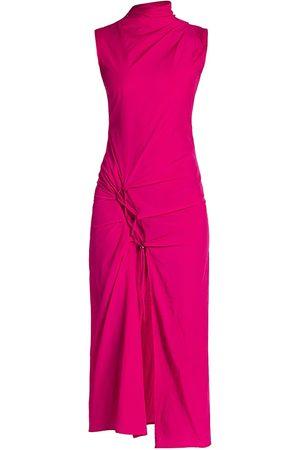 OFF-WHITE Women's DNA Spiral Split Midi Dress - - Size 40 (4)