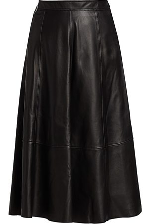 CO Women's A-Line Leather Midi Skirt - - Size Small