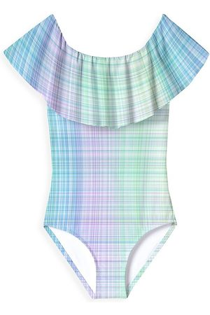STELLA COVE Little Girl's & Girl's Ruffled Plaid One-Piece Swimsuit