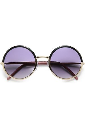 Cutler and Gross Women Round - 54MM Leather-Trimmed Round Sunglasses