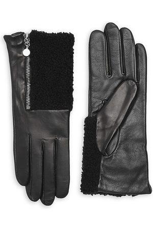 Carolina Amato Women's Touch Tech Metallic Leather & Shearling Gloves - - Size Large