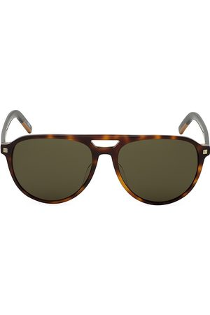 Z Zegna Men's 57MM Round Havana Aviator Sunglasses
