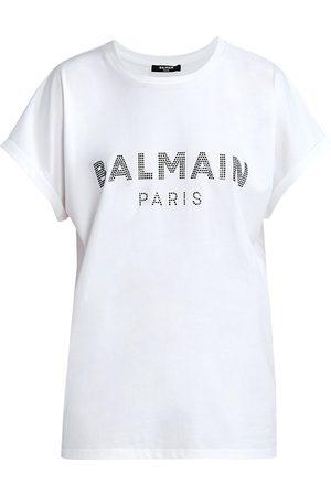 Balmain Women's Strass Logo T-Shirt - - Size XS