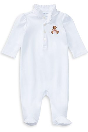 Ralph Lauren Baby Girl's Bear Embroidery Footie - - Size 6 Months