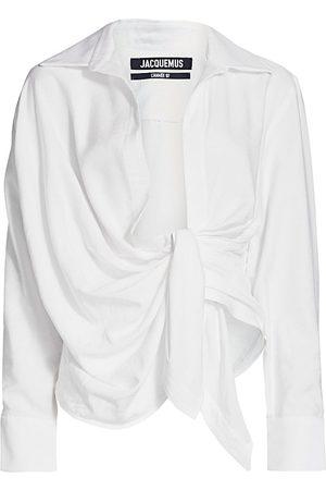 Jacquemus Women's La Chemise Bahia Draped Blouse - - Size 40 (8)