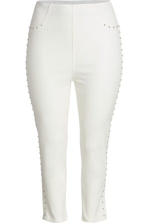 Joan Vass Women's Studded Stretch Jeans - - Size 1X (14-16)