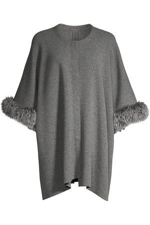 Sofia Cashmere Women's Fox-Fur Trim Cashmere Poncho Jacket - Grey
