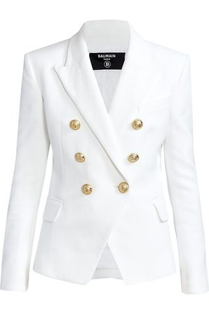 Balmain Women's Double Breasted Cotton Piqué Jacket - - Size 34 (2)