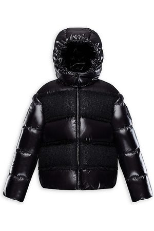 Moncler Little Girl's & Girl's Elbe Laminated Wool-Blend Tweed Puffer Jacket - - Size 10