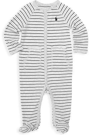Ralph Lauren Baby Boy's Striped Cotton Footie - Grey - Size 9 Months
