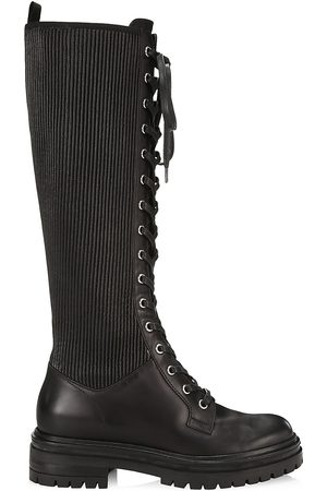 Gianvito Rossi Women's Martis Tall Rib-Knit Leather Combat Boots - - Size 40.5 (10.5)