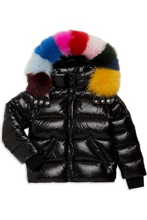 SAM. Girl's Annabelle Rainbow Fox Fur-Trim Down Puffer Jacket - - Size 12