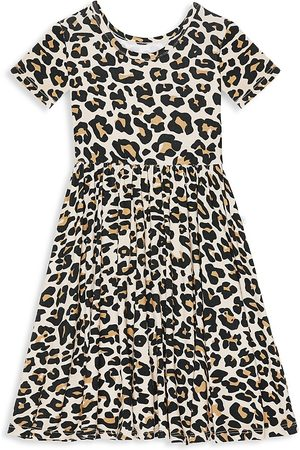 Posh Peanut Little Girl's Lana Leopard-Print Twill Ruffle Dress - - Size 4