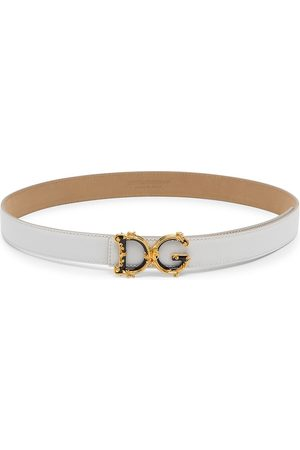Dolce & Gabbana Women's Baroque Logo Leather Belt - - Size Small