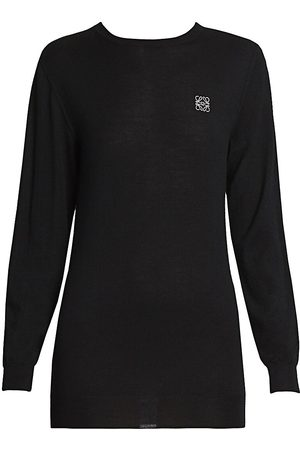 Loewe Women's Embroidered Cashmere Crewneck Sweater - - Size Small
