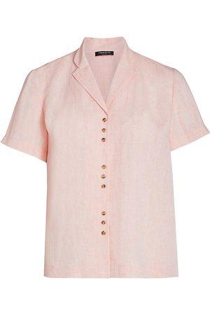 Lafayette 148 New York Women's Bourne Button-Up Linen Top - - Size 2X (18-20)