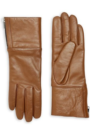 Carolina Amato Women's Touch Tech Leather & Shearling Gloves - Tan - Size Small