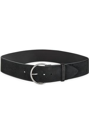 Saint Laurent Women's Antiqued Silver Suede Belt - - Size 90 (L)