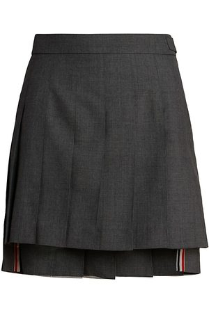 Thom Browne Women's Dropped Back Pleated Mini Skirt - - Size 44 (8)